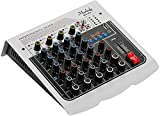 Audiomixer Mischpult 6-Kanal DJ Mixer, Audiomischer Mischpult 3-Band EQ mit Reverb Delay Effekten +...