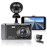 Abask Dashcam Auto Vorne und Hinten Autokamera 4 Zoll Full HD 1080P Dual Dash Cam mit 170 °...