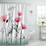 Bonhause Duschvorhang 180 x 180 cm Rote Blume Mohnblumen Duschvorhänge Anti-Schimmel Wasserdicht...
