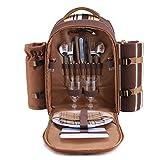 apollo walker Picknickrucksack für 2 Personen Picknick Rucksack Hamper Kühltasche mit Geschirr Set...
