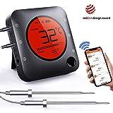 BFOUR Bluetooth Grillthermometer, Digital Funk BBQ Thermometer mit 2 Sonden Fleischthermometer...