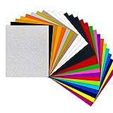 HTVRONT Plotterfolie Textil - 26 Pack Flexfolie 30.48 cm x 25.4 cm für T-Shirts & Stoffe(20 Farben...