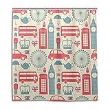 BKEOY Duschvorhang UK London Symbols Badvorhang, wasserdicht, schimmelfest, waschbar, Polyester, 167...