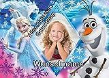 Für den Geburtstag ein Tortenbild-Wunschname, Rechteckig A4, Zuckerbild mit dem Motiv: Frozen Die...