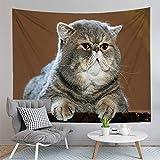 Wandteppich Wandbehang,Mode Bhmen 3D-Fat Cat Gedruckt Yoga Matte Decke Wand Hngenden Kunst Fr Dorm...