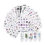 IWILCS 48 PCS Nagelsticker, 3D Nail Sticker Set, Nagel Aufkleber Abziehbild Art, Nail Art Nail...