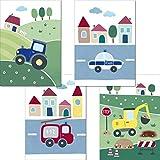 LALELU-Prints | 4er Set Bilder Kinderzimmer | Süße Fahrzeuge | genau das Richtige für kleine...