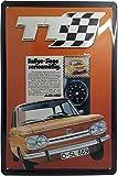 NSU Prinz TT Blechschild, hochwertig geprägtes Retro Werbeschild, Türschild, Wandschild, 30 x 20...