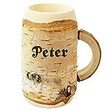 Holz Bierkrug mit Gravur - personalisiert mit Name - ca 0,5L - individuelles Geschenk, Holzkrug...