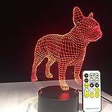 BFMBCHDJ Französische Bulldogge 3D Tischlampe BLE Fernbedienung Touch Control LED Buntes Hund...