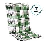 Homeoutfit24 Sun Garden 6-Stück Gartenstuhl-Auflage Prato in Grün, gepolstertes Sitzkissen für...
