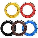 TIMESETL 5Stück KFZ Leitung 1,5 Fahrzeugleitung 1,5 mm² KFZ Kabel 5 Farben x 10m als Ring im Set,...