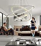 LED-Pendelleuchte, 48 W, 3 Ringe, zum Aufhängen, modernes Design, 60 x 60 x 100 cm (warmweiß)