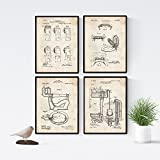 Nacnic Vintage - Pack of 4 Sheets with PATENTS Toilet. Set Posters with Inventions and Old patents....