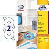 AVERY Zweckform L6015-25 selbstklebende CD-Etiketten inkl. Zentrierhilfe (50 blickdichte...