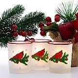 Cardinal Votivkerzenhalter-Set mit 3 weihnachtlichen Winterkardinalen, Beeren und Tannenzapfen im...