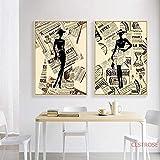 YuanMinglu Retro Kunst Poster Leinwand Gemlde Mdchen Modell abstrakt nordischen Stil Wand...