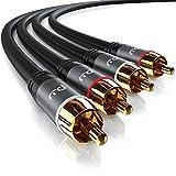 CSL - Stereo Cinch Audio Kabel - 1m - 2X Cinch zu 2X Cinch Audiokabel - AUX Eingnge - Metall-Stecker...