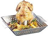 Rosenstein & Söhne Hähnchengrill: BBQ-Hähnchen-Griller mit Aroma-Behälter für ganze Hähnchen...