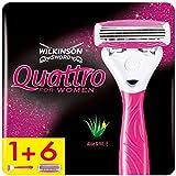 Wilkinson Sword Quattro for Women Damenrasierer mit 6 Ersatzklingen, Briefkastenfähig