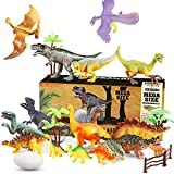 WOSTOO Dinosaurier Spielzeug Set, 23pcs Figur Dinosaurier mit 6pcs Simulierte Pflanze Dinosaurier...