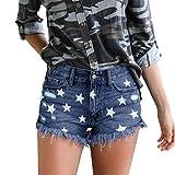 Amuse-MIUMIU Damen-Shorts mit sexy Sternendruck, hohe Taille, Jeans, Knopfleiste, schmale Quaste,...