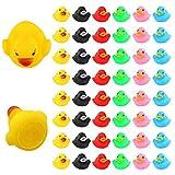 LUTER 48 Stück Badeente Gummi Ducky Badespielzeug für Kinder, Float und Squeak Mini Kleine Bunte...