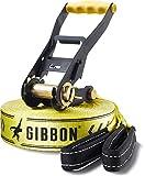 Gibbon Slacklines Classic Line, Gelb, 25 Meter, 22,5m Band + 2,5m Ratchendband, Anfänger, Beginner...