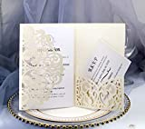 Einladungskarten, lasergeschnittene hohle Rose mit Burgunder-Band für...