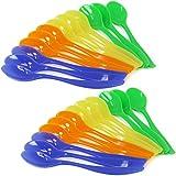 com-four® 24x Eierlöffel aus Kunststoff, Dessertlöffel in blau, gelb, grün und orange - 14 cm...