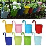 Blumentöpfe zum Aufhängen , RIOGOO Eisen Hängeblumentöpfe , Balkon Garten Töpfe Wand Pflanzer...