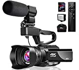 Videokamera 4K Camcorder mit Mikrofon 48MP Vlogging Kamera WiFi YouTube Kamera IR Nachtsicht...