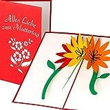 Muttertagskarte mit 3D Blumen Motiv Alles Liebe zum Muttertag handgefertigt, 3D Pop up Karte,...