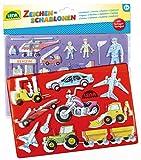 Lena 65773, 2er Zeichenschablonen Set Menschen, 2 Schablonen und Farbvorlagen mit Fahrzeugen und...
