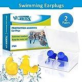 WOTEK Ohrstöpsel Schwimmen, 2 Paar wasserdichte Wiederverwendbare silikon ohrstöpsel, weiches...