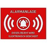 12 x Aufkleber Alarmgesichert (Klein - 7,4 x 5,2cm) - Schutz vor Einbruch in Auto und Wohnmobil -...