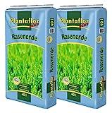 Plantaflor Plus Rasenerde 80 L (2 x 40 L) Spezial Rasen Erde für Neuansaat Ausbesserung und Pflege...