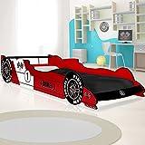 Deuba Kinderbett Autobett | 200x90cm | inkl. Lattenrost | MDF Holz | Farbe: Silber, rot, blau |...