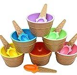 Amcool 6 Stck Kinder Niedlich Bun te Eis-Schalen Eisbecher Geschenke Dessert Schalen