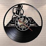 GVC DJ Plattenspieler Hip Hop Wanduhr Nachtclub Musikstudio Wandkunst Vintage Schallplatte Wanduhr...