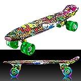 55cm/22 Mini Cruiser Board Retro Skateboard Komplettboard mit LED Leuchtrollen fr Jugendliche Kinder...