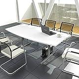 EASY Konferenztisch Bootsform 180x100 cm Weiß Besprechungstisch Tisch, Gestellfarbe:Silber
