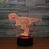 3D Nachtlicht Tyrannosaurus Rex 3D LED-Lampe 7-Farben-Nachtlampen für Kinder...