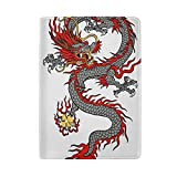 COOSUN Reisepasshülle aus Leder mit chinesischem Drachen-Motiv, mit einer Tasche