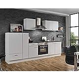 Lomadox Einbauküche mit Elektrogeräten 300cm | Küchenzeile Küchenblock E-Geräte Singleküche |...