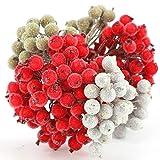 HOWAF 6 Pack 240pcs Mini Weihnachten Dekoration Künstliche Frucht Beere Holly Blumen für...