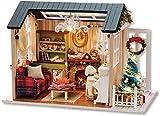 QLKJ DIY Holzhaus Mini-Puppe Haus Kit Fotorealistische 3D Mini-Zimmer Handwerk Mit MöBeln Led Licht...