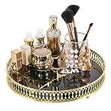 Zosenley Make-up-Organizer-Tablett, dekoratives Glas, rund, für Schmuck, Make-up, Parfüm,...