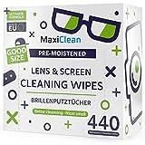 MAXI CLEAN Brillenputztücher - 440 Brillenputztücher Feucht - Brillenreiniger Feuchttücher für...