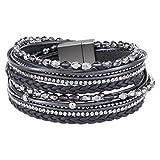 StarAppeal Armband Wickelarmband mit Perlen, Strass, Ketten und Flechtelement, Magnetverschluss...